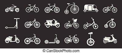 bicikli, vektor, állhatatos, szürke, ikon