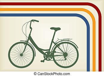 bicikli, vektor, háttér, fogalom