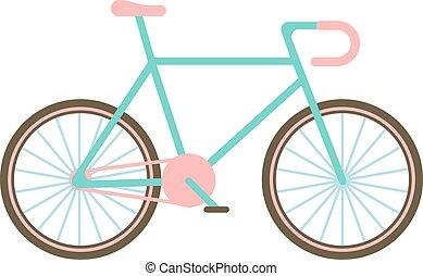 bicikli, vektor, illustration., klasszikus