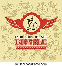 bicikli, vektor, tervezés, illustration.