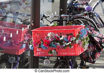 bicikli, virág nagy