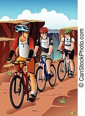 biciklisek, alatt, a, hegy