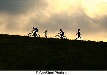 biciklisek, hegy