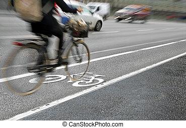 biciklista, alatt, bicikli sáv