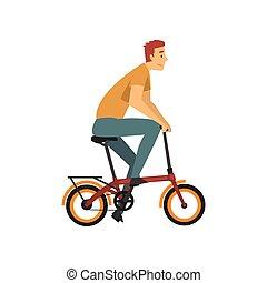 biciklista, bicikli, betű, fiatal, ábra, vektor, lovaglás, hím, ember