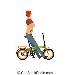 biciklista, bicikli, bicikli, betű, fiatal, ábra, vektor, hím, ember