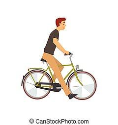 biciklista, bicikli, bicikli, betű, fiatal, ábra, vektor, lovaglás, hím, ember