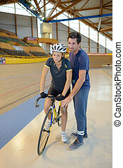 biciklista, edző, el, rámenős, női