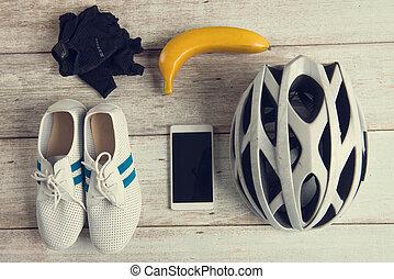 biciklista, fogalom, hangsúly, szüret, retro, fénykép, konzervál