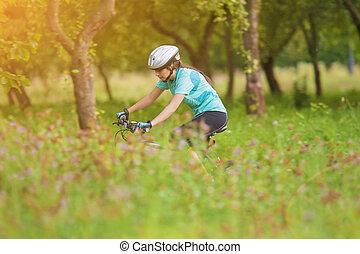 biciklista, gyakorló, fiatal, női