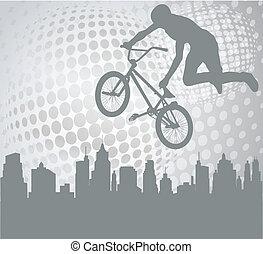 biciklista, képben látható, a, elvont, háttér