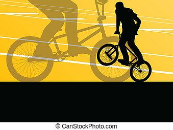 biciklista, körvonal, vektor, háttér, aktivál, sport, extrém