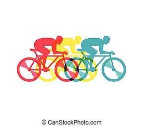 biciklista, lovaglás, képben látható, bicikli, vektor, ábra, és, poszter