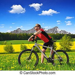 biciklista, noha, a, hegy bicikli