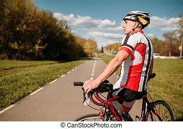 biciklista, sportruházat, kerékpározás, út, aszfalt
