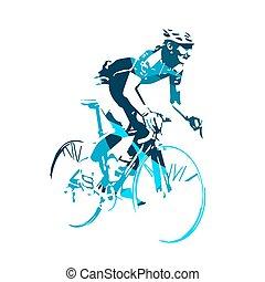 biciklista, vektor, ábra