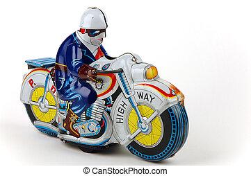 biciklizik, játékszer, öreg, motor