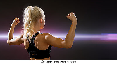 bicipite, donna, sportivo, lei, indietro, flessione