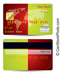 Bicolor background credit card design with world map