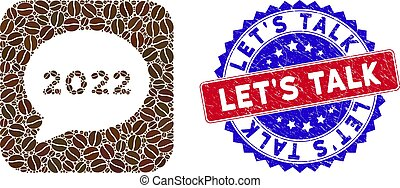 Bicolor Let'S Talk Grunge Stamp and Coffee Grain Hole Mosaic 2022 Chat Message