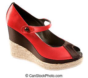 Bicolor raffia wedge peep toe isolated on white background. Clipping path included.