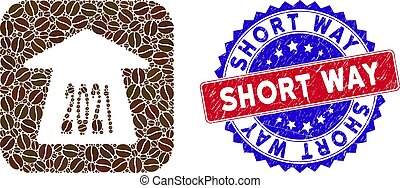 Bicolor Short Way Distress Stamp and Coffee Seeds Stencil Mosaic 2021 Forward Arrow