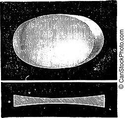 Biconcave lens, vintage engraving.