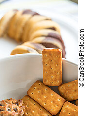 Bicsucits on a White Plate