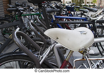 Bicycle Abstract - Bicycle parking lot abstract