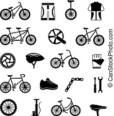 Bicycle accessories black icons set