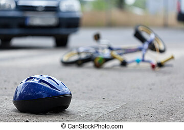 Bicycle accident - Close-up of a bicycle accident on the...