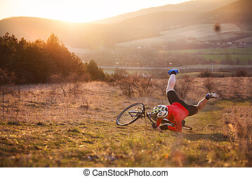 Bicycle accident - Mountain Biker has a painful looking...