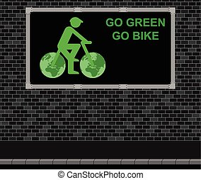 Bicycle advertising board - Advertising board on brick wall ...