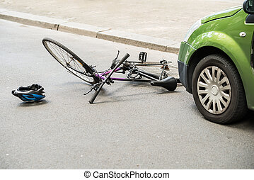 Bicycle After Accident On The Street - Close-up Of A Bicycle...