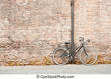bicycle against a wall