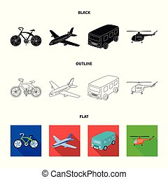 Bicycle, airplane, bus, helicopter types of transport. Transport set collection icons in black, flat, outline style vector symbol stock illustration web.