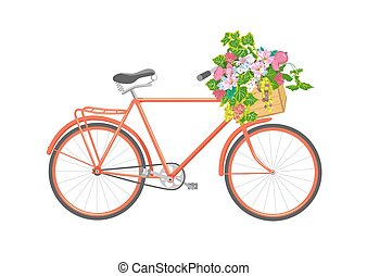 Bicycle and flowers vector illustration