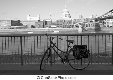 bicycle and London cityscape in black & white
