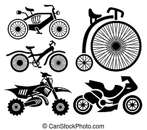 bicycle and motorbike icons collection