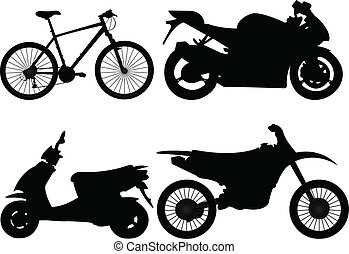 bicycle and motorcycle - Motorcycle collection - vector