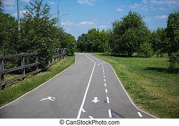 Bicycle and pedestrian asphalt road