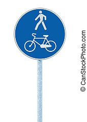 Bicycle and pedestrian lane road sign on pole post, large blue round isolated bike cycling and walking walkway footpath route traffic roadside signage