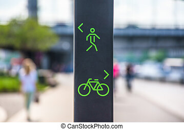 Bicycle and pedestrian lane sign