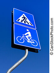Bicycle and pedestrian road sign
