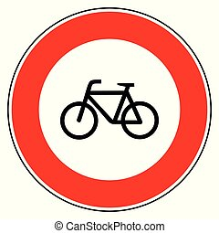 Bicycle and prohibition sign