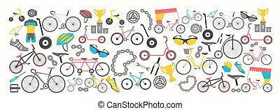 Bicycle banner graphic design. Bike types. Vector illustration flat design