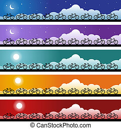 Bicycle Banner - Set of cycling banners with moon and sun...