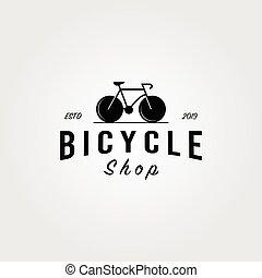 bicycle bike shop logo minimalist vintage vector icon design illustration