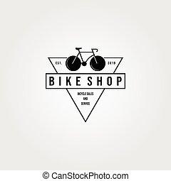 bicycle bike shop logo triangle minimalist vintage vector icon design illustration