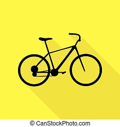 Bicycle, Bike sign. Black icon with flat style shadow path on yellow background.